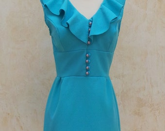 Vintage 60s - Mini Dress - Bright Blue - Ruffles - Sleeveless - Womens Size Small - 1960s Dress