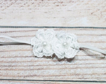 Itty Bitty Lace - Dual Blossom in white lace