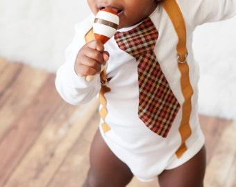 Baby Boy Tie one piece bodysuit, suspenders and tie orange, brown, mustard, Fall, Thanksgiving, Photo Prop, Baby Boy Fashion, Birthday shirt