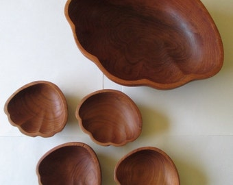 Mid Century Teak Shell Bowl Set