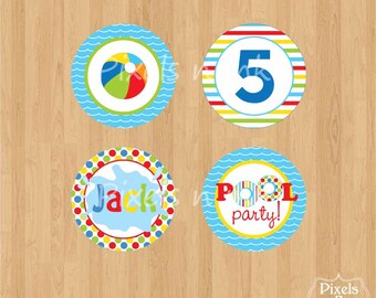 """DIY Printable Personalized Pool Party Bash 2"""" Party Circles/Cupcake Toppers by Pixels n Ink -"""