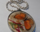 """Victorian Double Sided  Convex Glass Real Butterfly Moth Dried Grass Flowers Pendant 20"""" Italy Twisted Herringbone Sterling Silver  Necklace"""