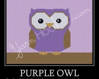 Purple Owl - Afghan Crochet Graph Pattern Chart - Instant Download