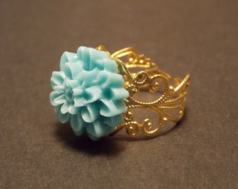 Blue and Gold Flower Ring