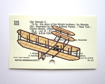 Wright Brothers Library Card Art - Print of my painting of Wright Brothers airplane on card for the book To Fly
