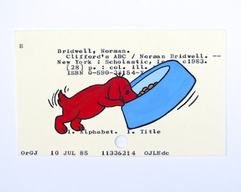 Clifford the Big Red Dog Library Card Art - Print of my painting of Clifford the Big Red Dog as a puppy
