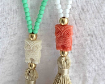 White Tassel Necklace. White and Coral Necklace. Owl necklace. Summer Bohemian Necklace. Beaded pastel beachwear necklace