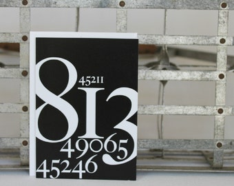 Moving Announcement, Thank You Cards, Zip Code Number Cards, Black and White Graphic Design Boxed Card Set, Blank Cards