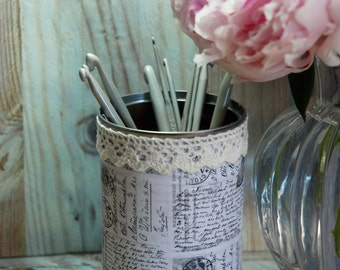 Vintage Shabby Chic Style Tin Desk Organizer with your choice of Doily
