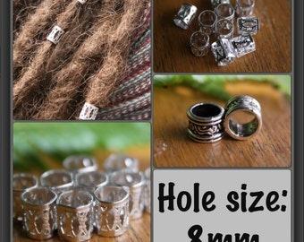 30 Silver DREADLOCK Beads - DREAD Hair Beads 8mm hole & FREE Tibetan Silver Bead