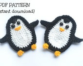 Crochet pattern, penguin applique pattern, crochet applique pattern, crochet penguin, pattern no. 104