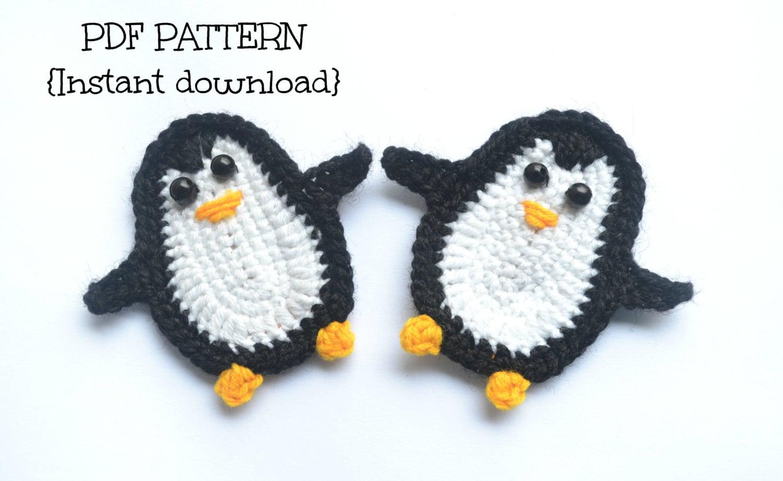 Free Crochet Pattern Penguin Afghan : Crochet pattern penguin applique pattern by TheLazyHobbyhopper