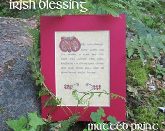 Book of Kells Irish Blessing Celtic PRINT (May you always have walls...)