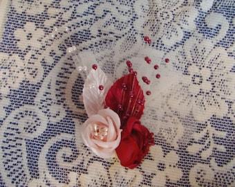 Hair Clip - Corsage Style Hair Clip - Pink Maroon Rose Clip - Mini Fascinator Clip - Rose Hair Clip - Flower Hair Clip - Boutique Hair Clip