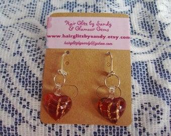 Pierced Earrings - Red Glass Heart Earrings - Dangle Earrings - Heart Earrings - Red Earrings - Lightweight Earrings - Lever Back Earrings