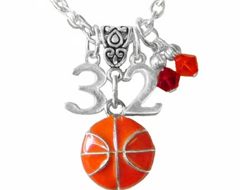 Personalized, Basketball Necklace, Team Color, Jersey Number Charm Necklace, Basketball, Mom Necklace, Basketball Jewelry,  (Made to Order)