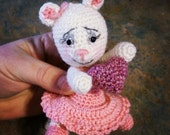 Artist bear mouse dressed doll - hand crocheted cashmere - Tillie Mouse