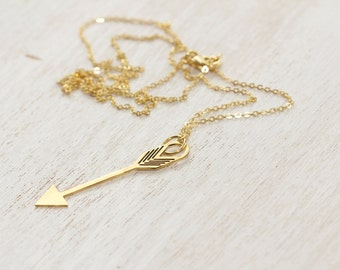 Arrow Necklace, Gold Arrow Pendant Necklace, Delicate Gold Pendant Necklace, Dainty Long Gold Necklace, Long Chain Link Necklace, Long Chain