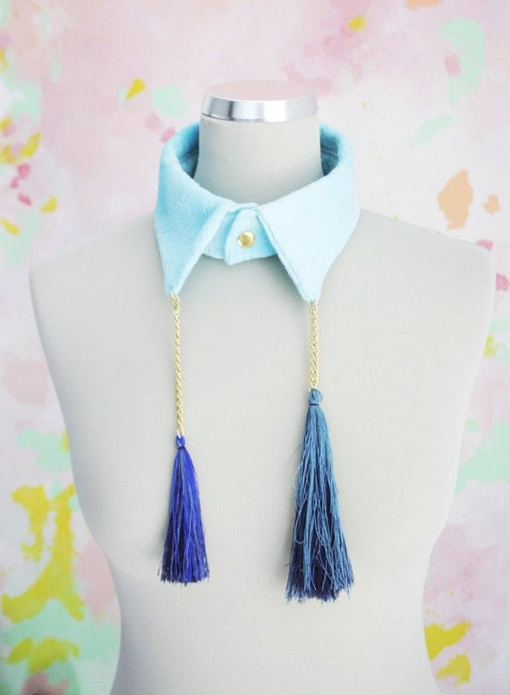 70% off P I X I E / Blue collar from hand-dyed linen with silk tassels - Ready to Ship - Christmas Sale