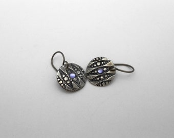 Fine Silver Earrings, Silver Metal Clay Earrings, PMC Earrings, Cabochon, Blue and Silver, Sensitive Ears