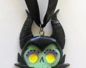 Maleficent Lil'Skully's Inspired Handmade Polymer Clay Pendant, Pin, or Magnet