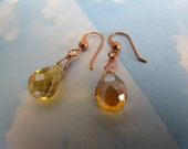 Gold Crystal Glass Faceted Teardrop Briolette Beads Amber Transparent dangle Earrings Drop 8x13mm Solid Copper Jewellery Jewelry