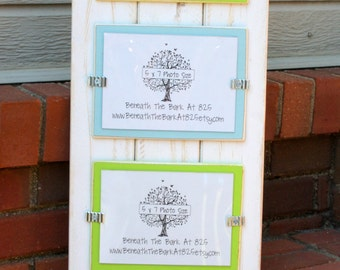 Distressed Wood Picture Frame - Holds 4 - 5x7 Photos - White Boards with Lime Green & Light Blue Mats