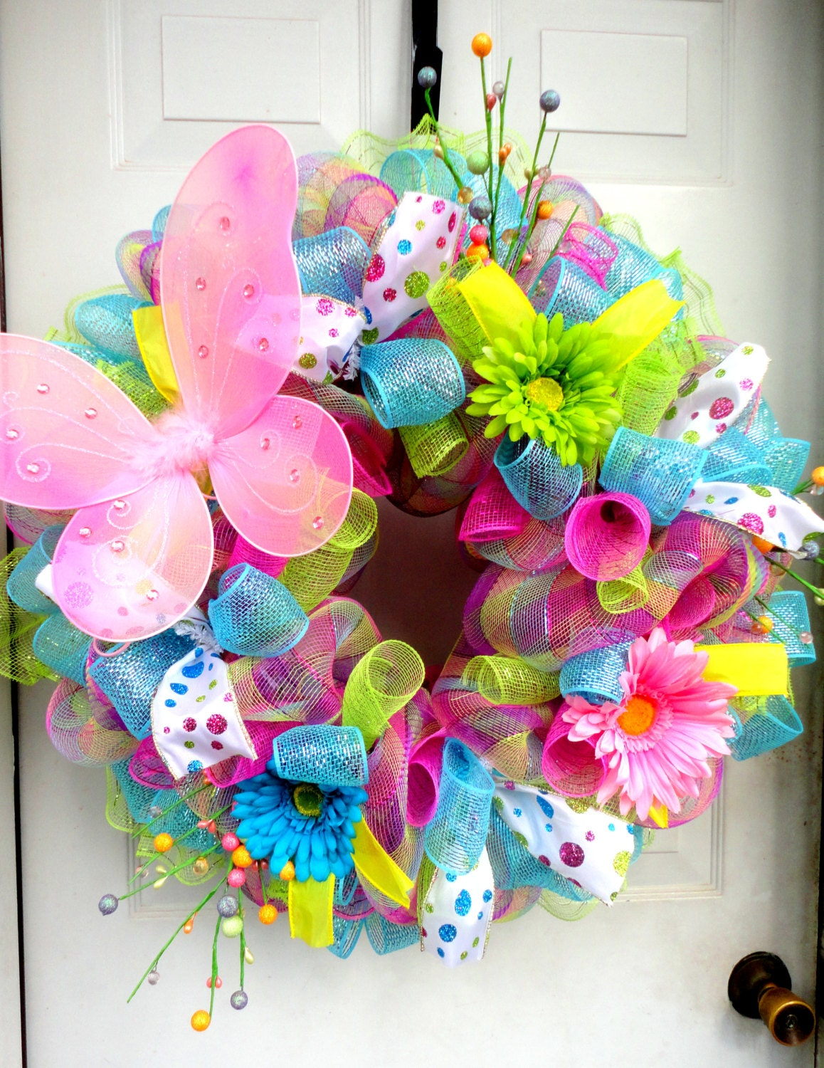 Spring Wreath Spring Deco Mesh Easter Deco by SparkleWithStyle