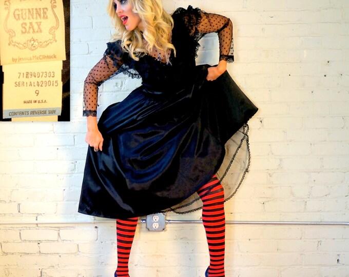 Gunne Sax Vintage 80s Black Gothic Cocktail Dress SMALL Satin Lace High Neck Goth Wedding Dress Ballerina Prairie Jessica McClintock