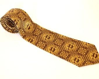 60s necktie by Rhodia. Vintage golden necktie. Tribal pattern. Woven in France. Horse print. Father's Day gift. Boyfriend gift