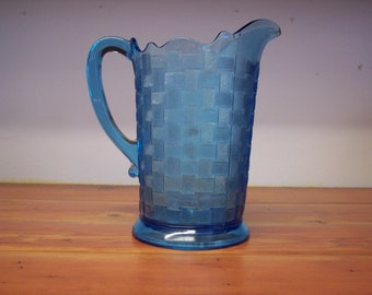 EAPG Chicago Glass Company cobalt blue pitcher milk pitcher water pitcher Antique glass