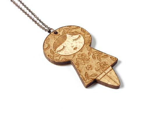 Doll necklace with lace pattern - matriochka pendant - kokeshi jewelry - lasercut maple wood - graphic - kawaii - cute