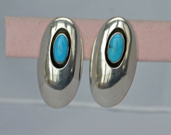 NAVAJO  Earrings Sterling Turquoise Clips