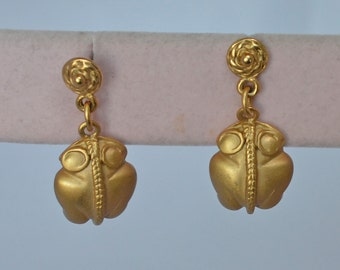 Vintage 18k Gold Wash  Frog Drop Earrings Pierce