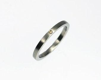Orange  diamond wedding band, white gold wedding ring, orange diamond ring, unique  band, matte finish, custom, engagement, contemporary