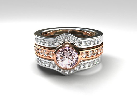 Two tone ring engagement set morganite engagement ring for Two toned wedding ring sets