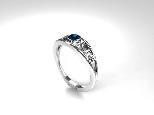 Teal diamond engagement ring filigree ring bezel engagement