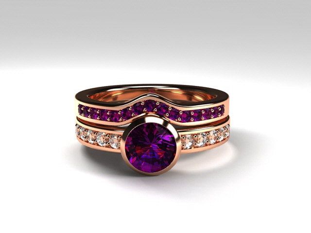 amethyst engagement ring made from rose gold by. Black Bedroom Furniture Sets. Home Design Ideas