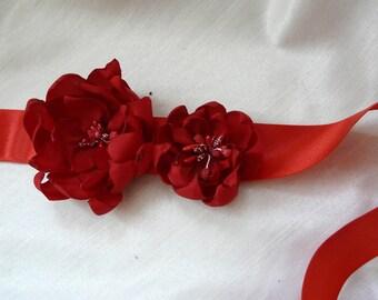 Red Sash Belt, Red Flower Sash Belt, Red Wedding Sash, Bridal Flower Sash, Red Bridal Belt