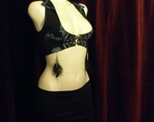 Classical Alchemy Vest / Organic/ Black / Blue Shimmer / Feathers / Airbrushed / Hand Made / Festival / Goddess / / Elegant / Tuxedo Tails