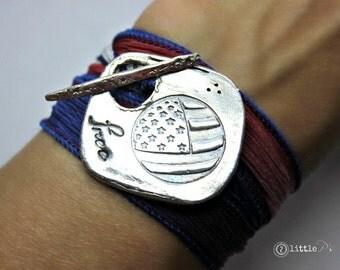READY TO SHIP Flag Jewelry, Freedom Bracelet, Silk Wrap Bracelet, Stars and Stripes