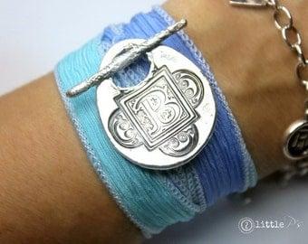 Personalized giftMonogram Silk Wrap Bracelet  Letter Bracelet