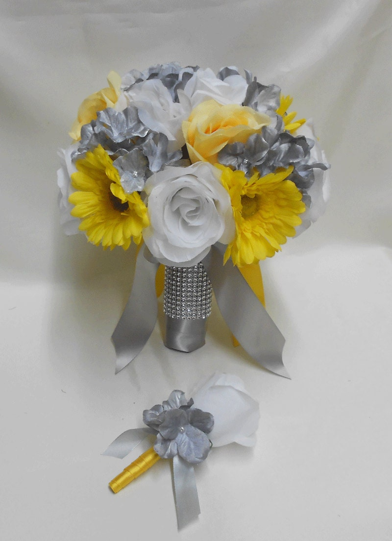 Wedding Bridal Bride's Bouquet Silk Flowers Yellow Daisy