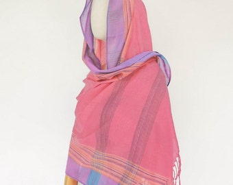 NO.144    Pink Cotton Blend Rayon Stripe Woven Scarf, Multi-Color Sarong Scarf