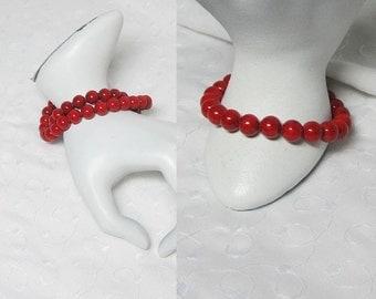 Red Bracelet, Beaded Bracelet, Red Riverstone, Red Bead Bracelet