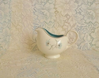 Gravy Boat Creamer Pitcher Vintage Kitchenware Cream Teal  Blue Flowers with Ribbons Retro Ceramic