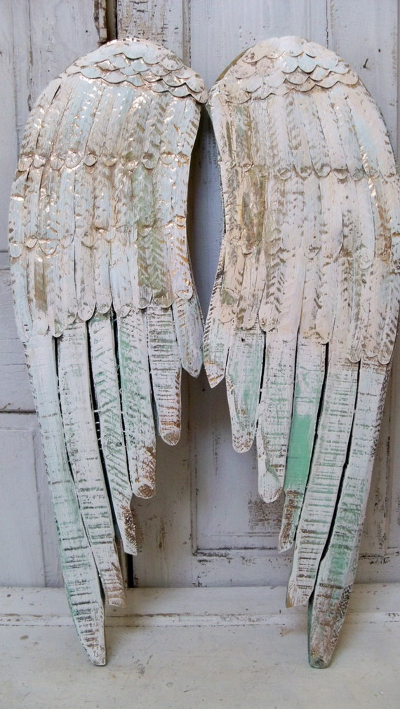 Large White Wings Distressed With Gold And Light Green Wood