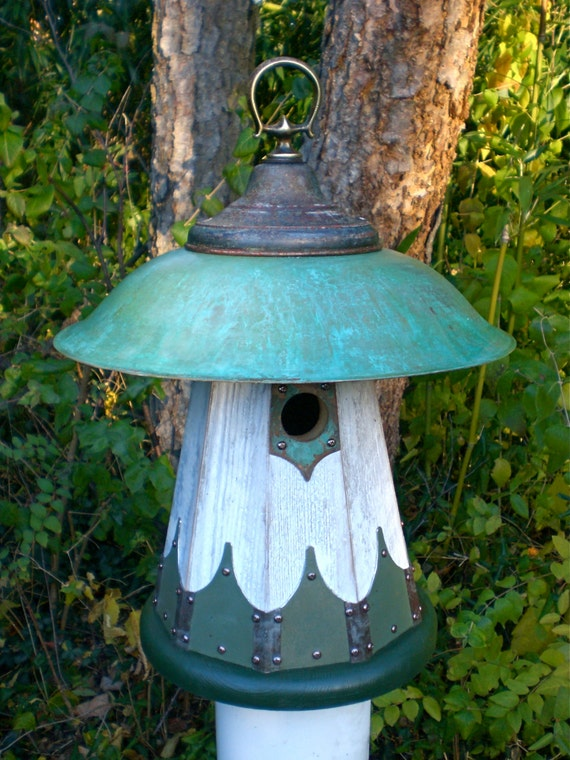 The mushroom arts and crafts mission style birdhouse handmade for Metal arts and crafts