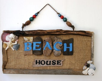 Beach House Wall Decor with burlap and shells