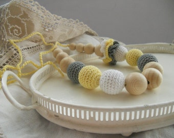 Crochet Nursing Necklace Yellow White gray Teething Necklace Breastfeeding jewelry Shower gift